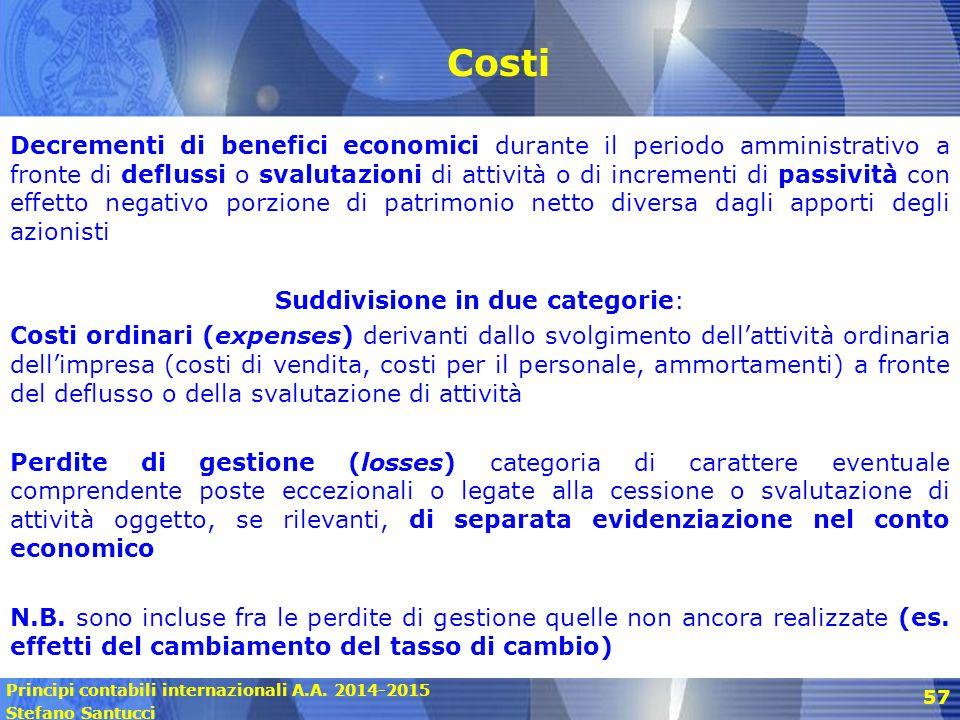 Principi contabili internazionali A.A. 2014-2015 Stefano Santucci 57 Costi Decrementi di benefici economici durante il periodo amministrativo a fronte