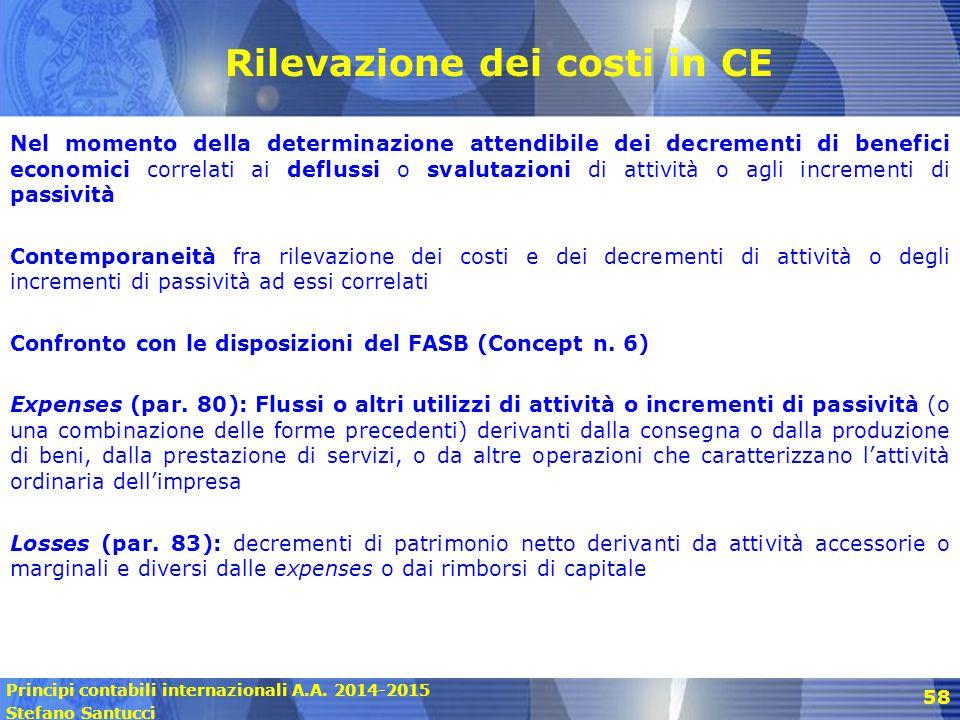 Principi contabili internazionali A.A. 2014-2015 Stefano Santucci 58 Rilevazione dei costi in CE Nel momento della determinazione attendibile dei decr
