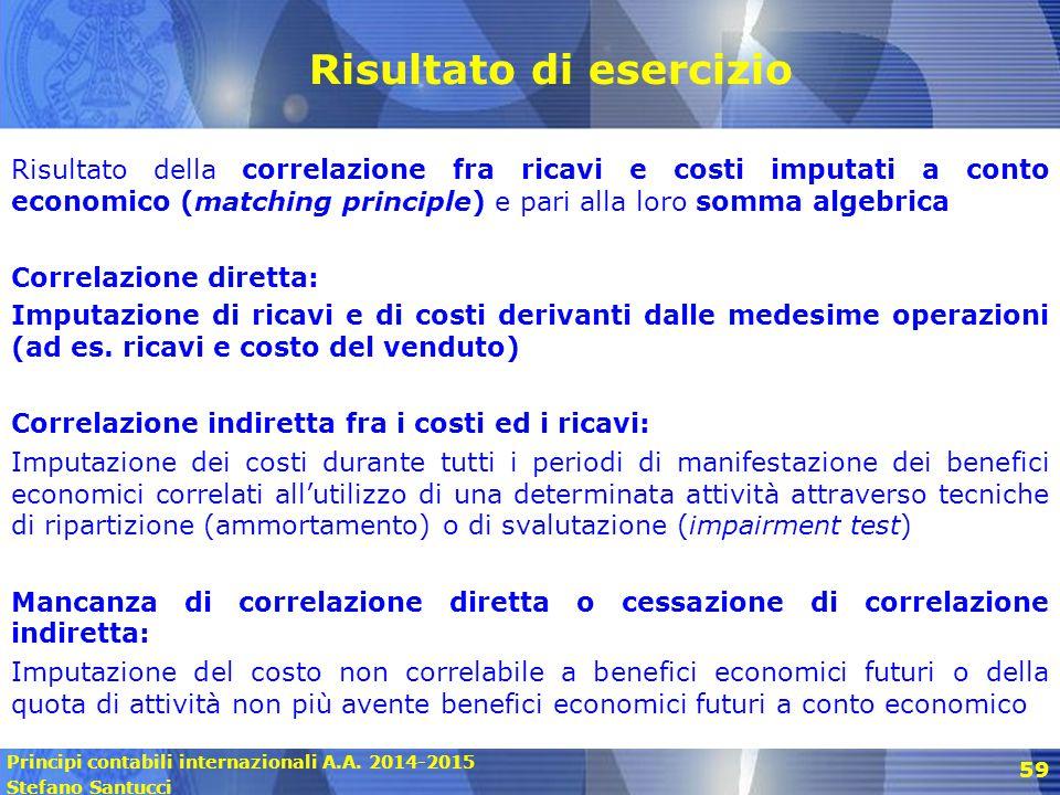Principi contabili internazionali A.A. 2014-2015 Stefano Santucci 59 Risultato di esercizio Risultato della correlazione fra ricavi e costi imputati a