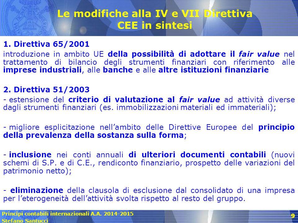 Principi contabili internazionali A.A. 2014-2015 Stefano Santucci 9 Le modifiche alla IV e VII Direttiva CEE in sintesi 1. Direttiva 65/2001 introduzi