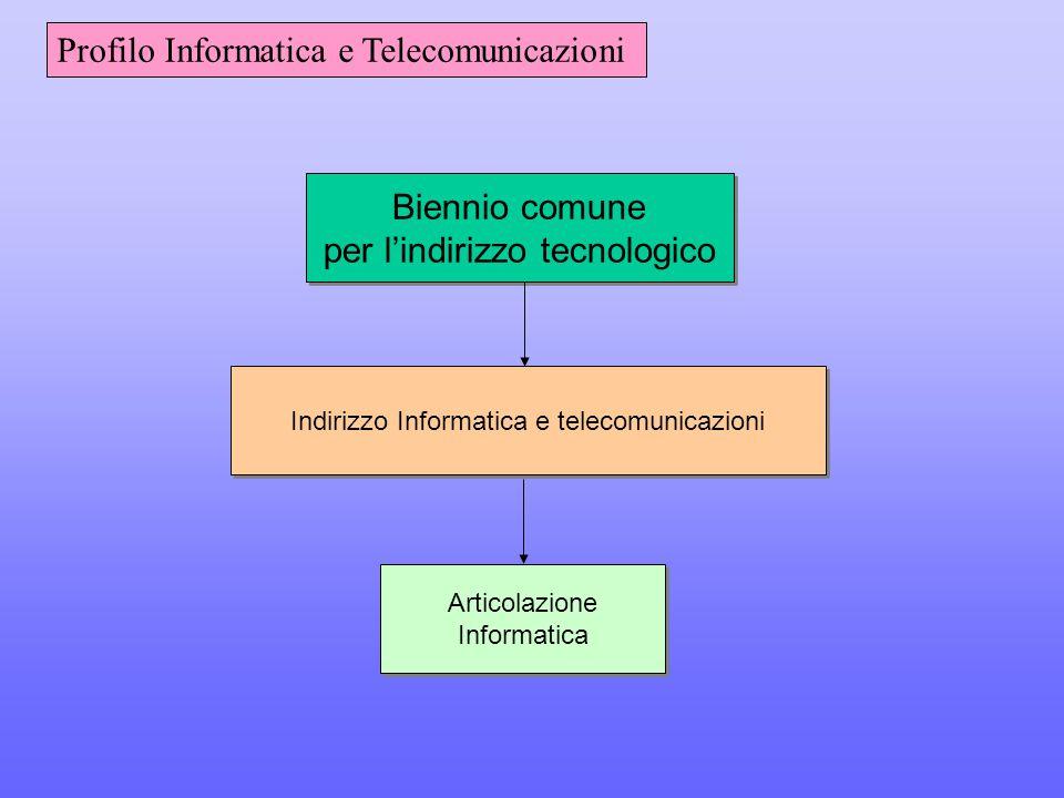 Biennio comune per l'indirizzo tecnologico Biennio comune per l'indirizzo tecnologico Indirizzo Informatica e telecomunicazioni Articolazione Informatica Articolazione Informatica Profilo Informatica e Telecomunicazioni