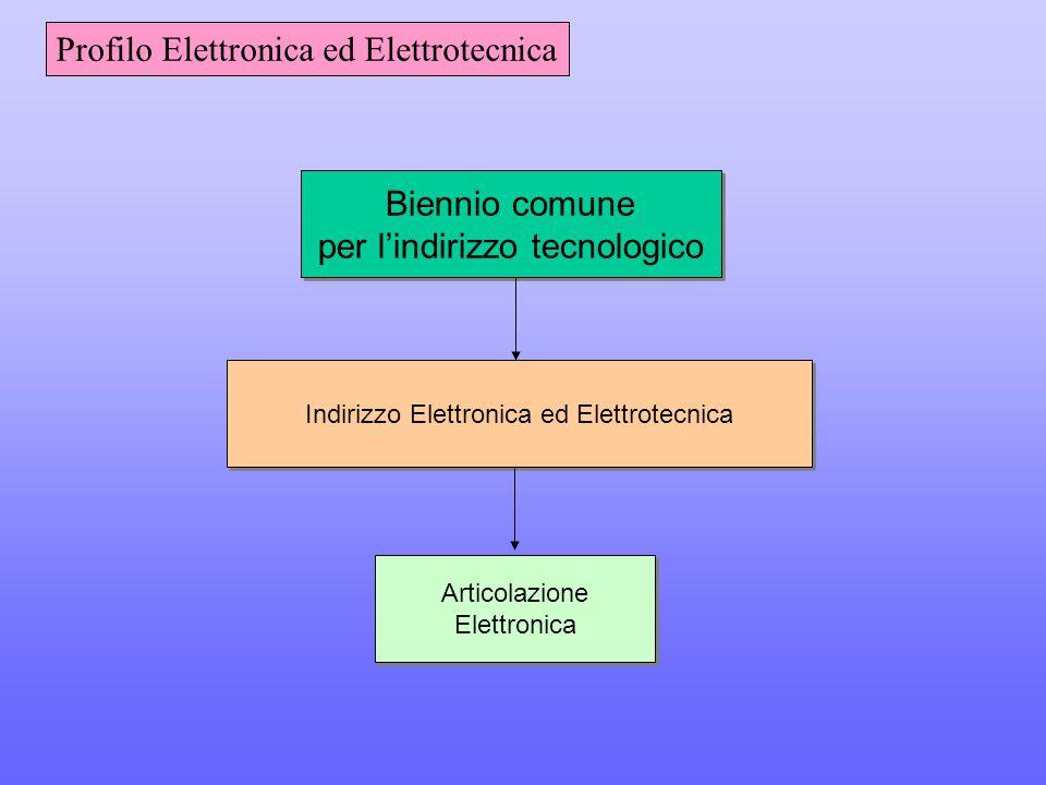 Biennio comune per l'indirizzo tecnologico Biennio comune per l'indirizzo tecnologico Indirizzo Elettronica ed Elettrotecnica Articolazione Elettronica Articolazione Elettronica Profilo Elettronica ed Elettrotecnica