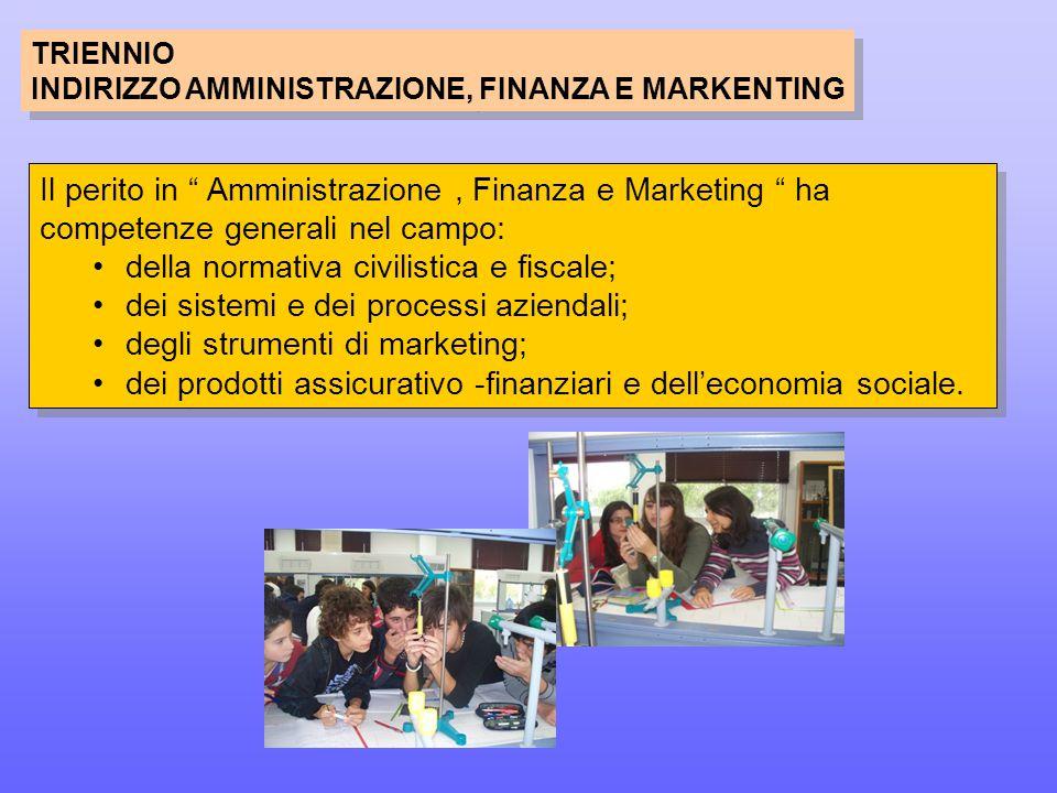 TRIENNIO INDIRIZZO AMMINISTRAZIONE, FINANZA E MARKENTING TRIENNIO INDIRIZZO AMMINISTRAZIONE, FINANZA E MARKENTING Il perito in Amministrazione, Finanza e Marketing ha competenze generali nel campo: della normativa civilistica e fiscale; dei sistemi e dei processi aziendali; degli strumenti di marketing; dei prodotti assicurativo -finanziari e dell'economia sociale.