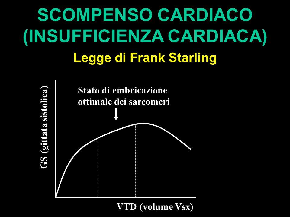 SCOMPENSO CARDIACO (INSUFFICIENZA CARDIACA) Legge di Frank Starling VTD (volume Vsx) GS (gittata sistolica) Stato di embricazione ottimale dei sarcome