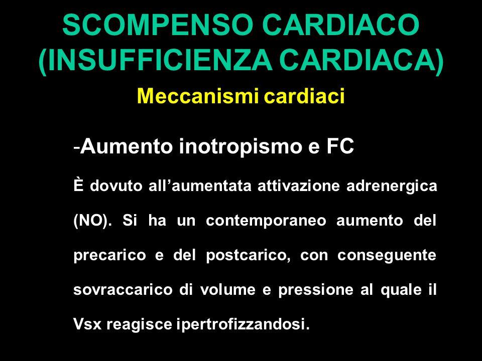 SCOMPENSO CARDIACO (INSUFFICIENZA CARDIACA) Meccanismi cardiaci -Aumento inotropismo e FC È dovuto all'aumentata attivazione adrenergica (NO).