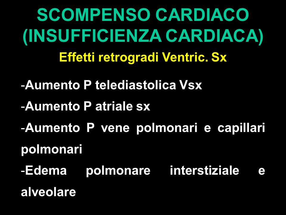 SCOMPENSO CARDIACO (INSUFFICIENZA CARDIACA) Effetti retrogradi Ventric. Sx -Aumento P telediastolica Vsx -Aumento P atriale sx -Aumento P vene polmona
