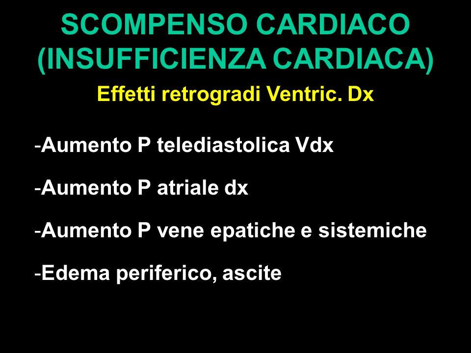SCOMPENSO CARDIACO (INSUFFICIENZA CARDIACA) Effetti retrogradi Ventric. Dx -Aumento P telediastolica Vdx -Aumento P atriale dx -Aumento P vene epatich