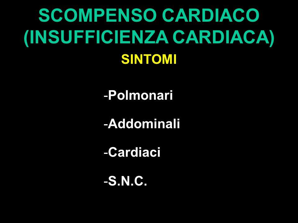 SCOMPENSO CARDIACO (INSUFFICIENZA CARDIACA) SINTOMI -Polmonari -Addominali -Cardiaci -S.N.C.