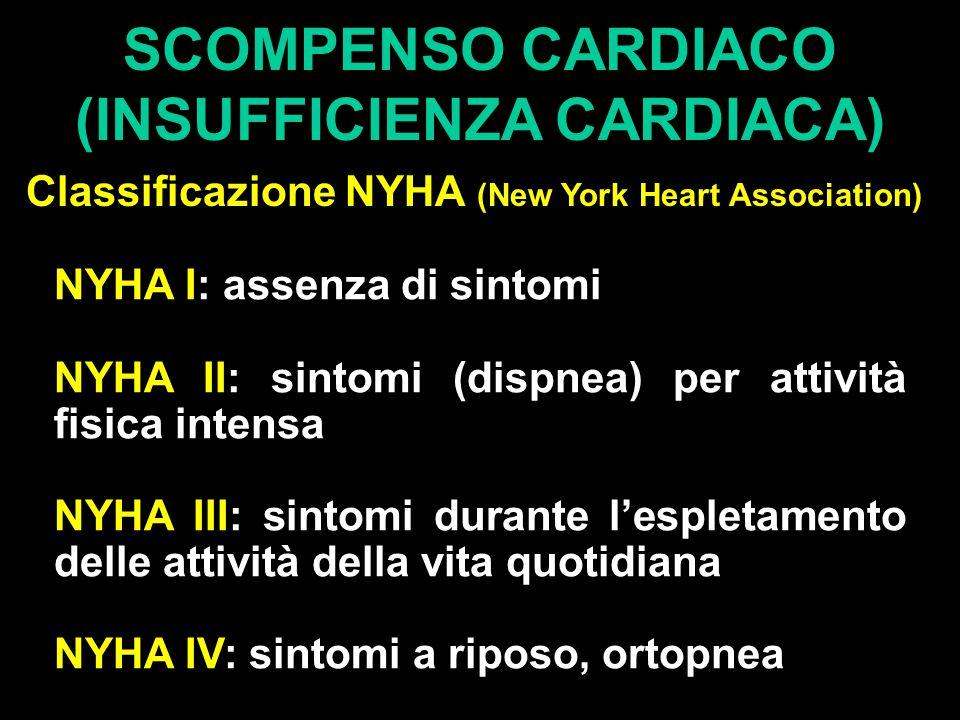 SCOMPENSO CARDIACO (INSUFFICIENZA CARDIACA) Classificazione NYHA (New York Heart Association) NYHA I: assenza di sintomi NYHA II: sintomi (dispnea) per attività fisica intensa NYHA III: sintomi durante l'espletamento delle attività della vita quotidiana NYHA IV: sintomi a riposo, ortopnea