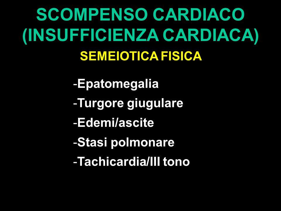 SCOMPENSO CARDIACO (INSUFFICIENZA CARDIACA) SEMEIOTICA FISICA -Epatomegalia -Turgore giugulare -Edemi/ascite -Stasi polmonare -Tachicardia/III tono