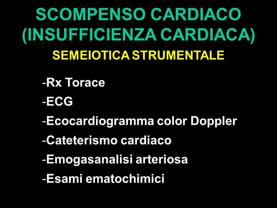 SCOMPENSO CARDIACO (INSUFFICIENZA CARDIACA) SEMEIOTICA STRUMENTALE -Rx Torace -ECG -Ecocardiogramma color Doppler -Cateterismo cardiaco -Emogasanalisi arteriosa -Esami ematochimici