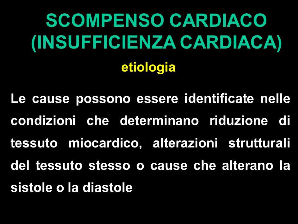 SCOMPENSO CARDIACO (INSUFFICIENZA CARDIACA) etiologia Le cause possono essere identificate nelle condizioni che determinano riduzione di tessuto miocardico, alterazioni strutturali del tessuto stesso o cause che alterano la sistole o la diastole