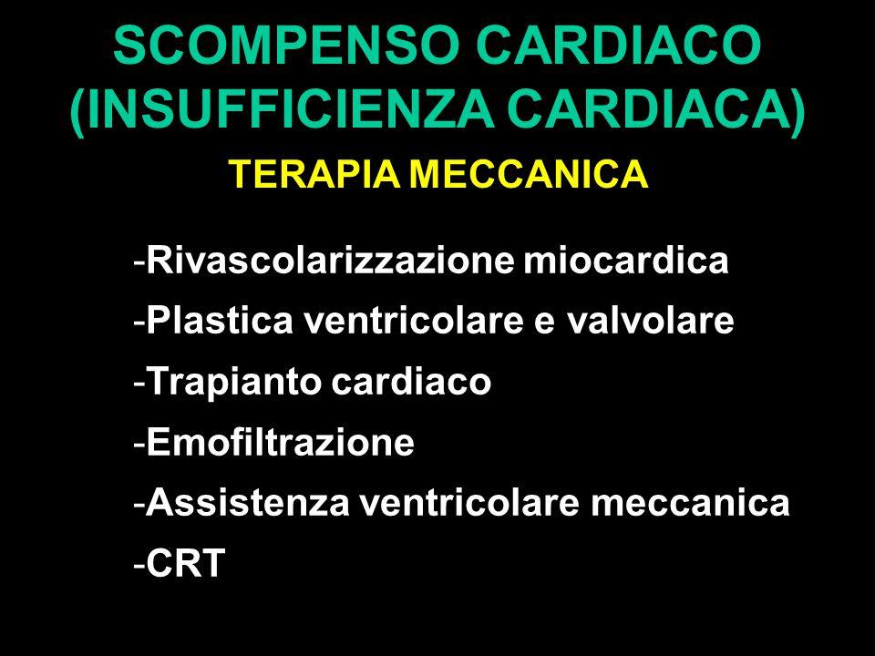 SCOMPENSO CARDIACO (INSUFFICIENZA CARDIACA) TERAPIA MECCANICA -Rivascolarizzazione miocardica -Plastica ventricolare e valvolare -Trapianto cardiaco -Emofiltrazione -Assistenza ventricolare meccanica -CRT