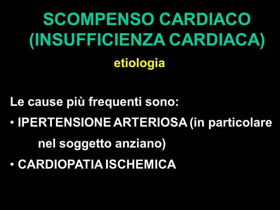 SCOMPENSO CARDIACO (INSUFFICIENZA CARDIACA) etiologia Le cause più frequenti sono: IPERTENSIONE ARTERIOSA (in particolare nel soggetto anziano) CARDIOPATIA ISCHEMICA