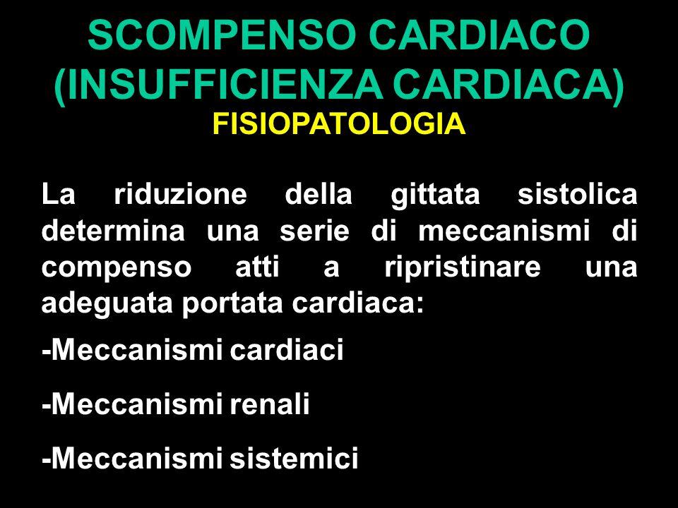 SCOMPENSO CARDIACO (INSUFFICIENZA CARDIACA) FISIOPATOLOGIA La riduzione della gittata sistolica determina una serie di meccanismi di compenso atti a ripristinare una adeguata portata cardiaca: -Meccanismi cardiaci -Meccanismi renali -Meccanismi sistemici