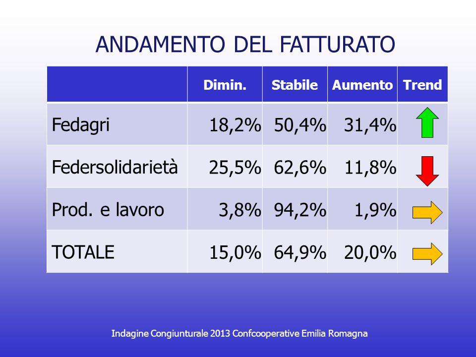 Indagine Congiunturale 2013 Confcooperative Emilia Romagna ANDAMENTO DEL FATTURATO Dimin.StabileAumentoTrend Fedagri 18,2%50,4%31,4% Federsolidarietà 25,5%62,6%11,8% Prod.