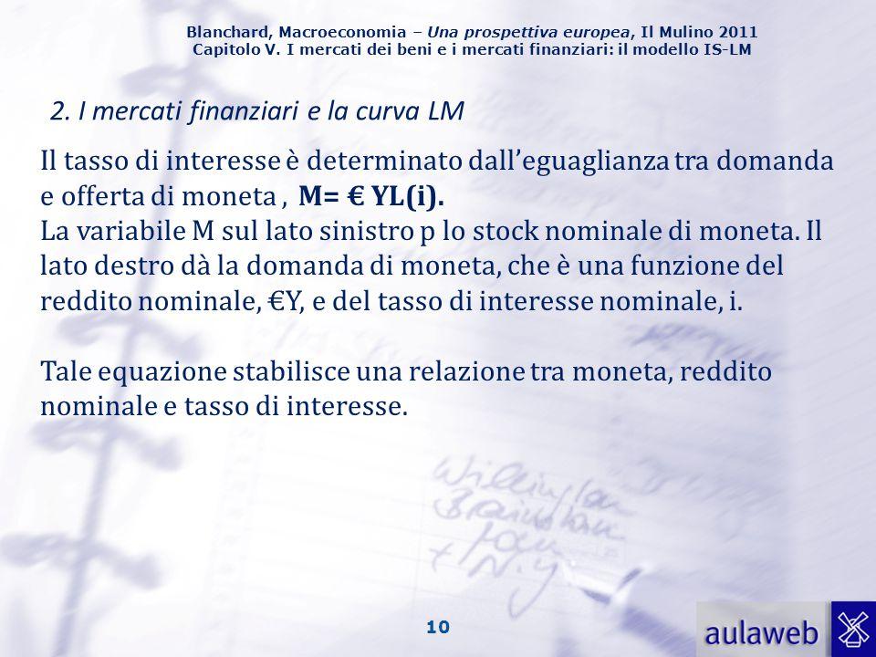 Blanchard, Macroeconomia – Una prospettiva europea, Il Mulino 2011 Capitolo V. I mercati dei beni e i mercati finanziari: il modello IS-LM 10 2. I mer