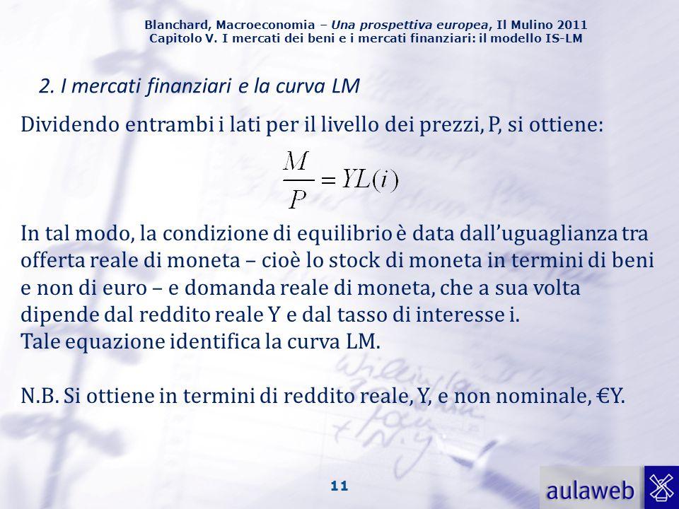 Blanchard, Macroeconomia – Una prospettiva europea, Il Mulino 2011 Capitolo V. I mercati dei beni e i mercati finanziari: il modello IS-LM 11 2. I mer