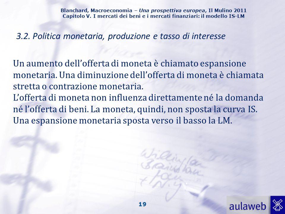 Blanchard, Macroeconomia – Una prospettiva europea, Il Mulino 2011 Capitolo V. I mercati dei beni e i mercati finanziari: il modello IS-LM 19 3.2. Pol