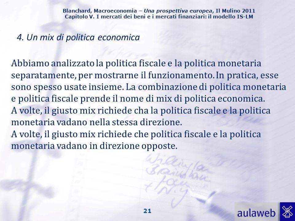 Blanchard, Macroeconomia – Una prospettiva europea, Il Mulino 2011 Capitolo V. I mercati dei beni e i mercati finanziari: il modello IS-LM 21 4. Un mi