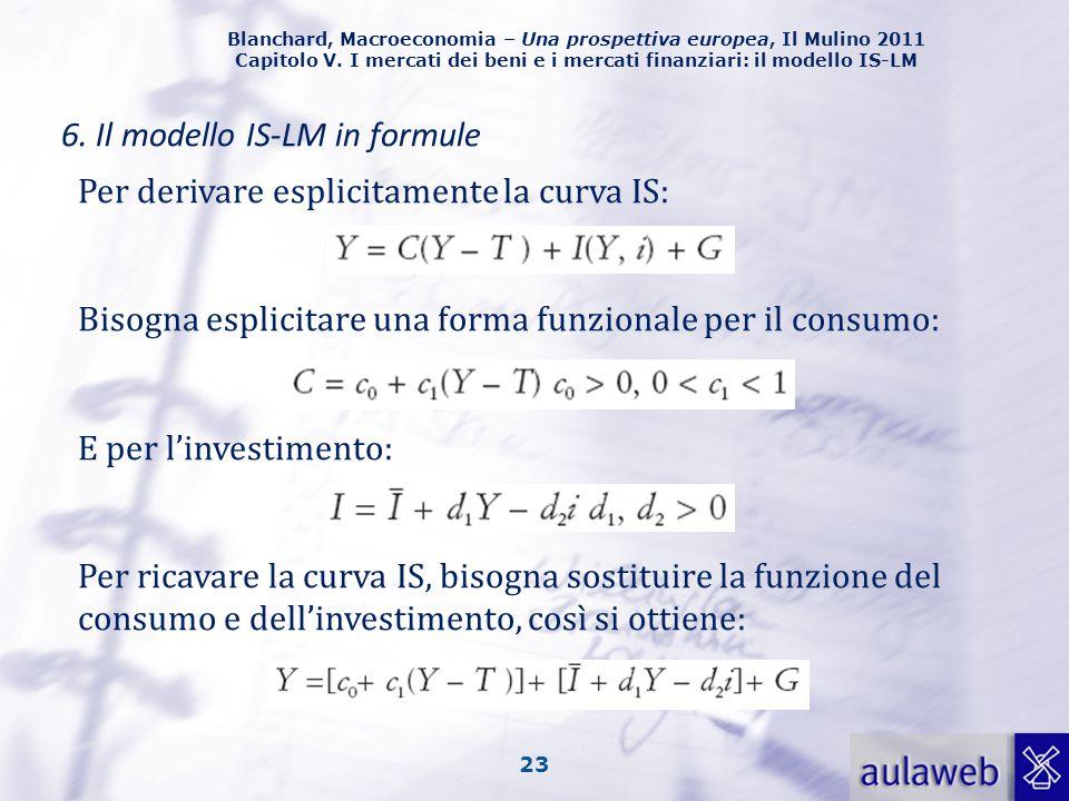 Blanchard, Macroeconomia – Una prospettiva europea, Il Mulino 2011 Capitolo V. I mercati dei beni e i mercati finanziari: il modello IS-LM 23 6. Il mo