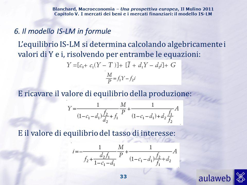 Blanchard, Macroeconomia – Una prospettiva europea, Il Mulino 2011 Capitolo V. I mercati dei beni e i mercati finanziari: il modello IS-LM 33 6. Il mo
