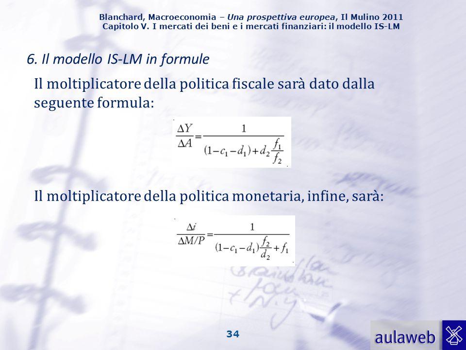 Blanchard, Macroeconomia – Una prospettiva europea, Il Mulino 2011 Capitolo V. I mercati dei beni e i mercati finanziari: il modello IS-LM 34 6. Il mo