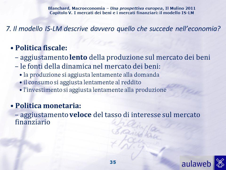 Blanchard, Macroeconomia – Una prospettiva europea, Il Mulino 2011 Capitolo V. I mercati dei beni e i mercati finanziari: il modello IS-LM 35 Politica