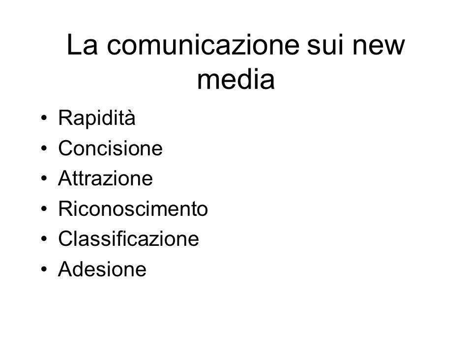 La comunicazione sui new media Rapidità Concisione Attrazione Riconoscimento Classificazione Adesione