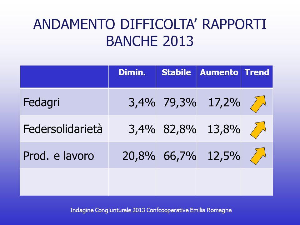 Indagine Congiunturale 2013 Confcooperative Emilia Romagna ANDAMENTO DIFFICOLTA' RAPPORTI BANCHE 2013 Dimin.StabileAumentoTrend Fedagri 3,4%79,3%17,2% Federsolidarietà 3,4%82,8%13,8% Prod.