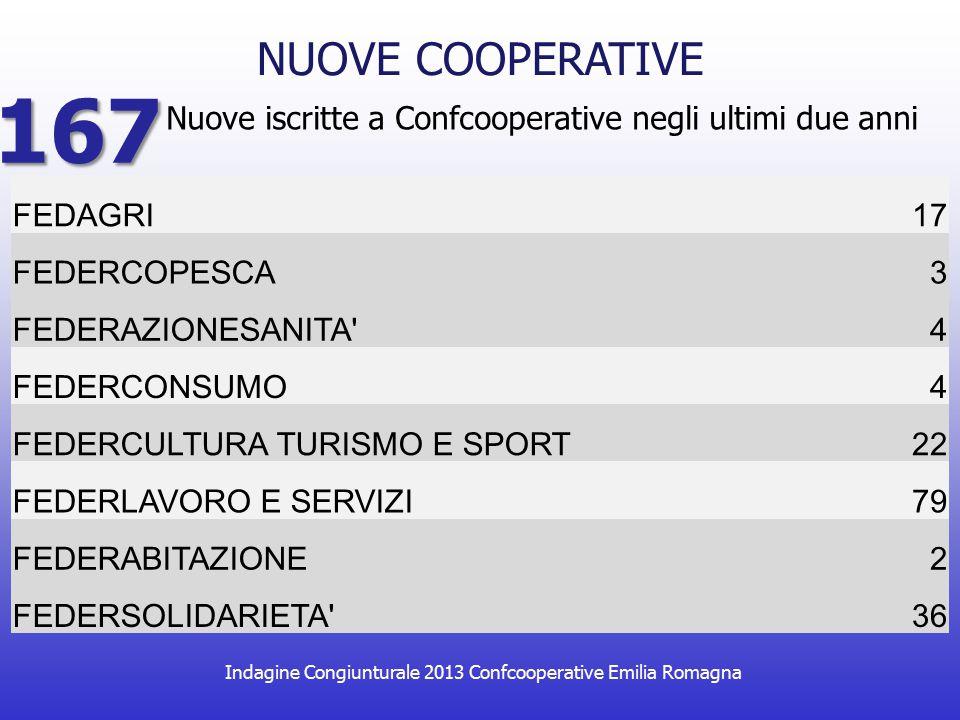 Indagine Congiunturale 2013 Confcooperative Emilia Romagna Nuove iscritte a Confcooperative negli ultimi due anni NUOVE COOPERATIVE 167 FEDAGRI17 FEDERCOPESCA3 FEDERAZIONESANITA 4 FEDERCONSUMO4 FEDERCULTURA TURISMO E SPORT22 FEDERLAVORO E SERVIZI79 FEDERABITAZIONE2 FEDERSOLIDARIETA 36