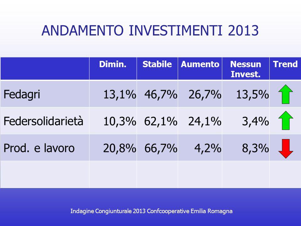 Indagine Congiunturale 2013 Confcooperative Emilia Romagna ANDAMENTO INVESTIMENTI 2013 Dimin.StabileAumentoNessun Invest. Trend Fedagri 13,1%46,7%26,7