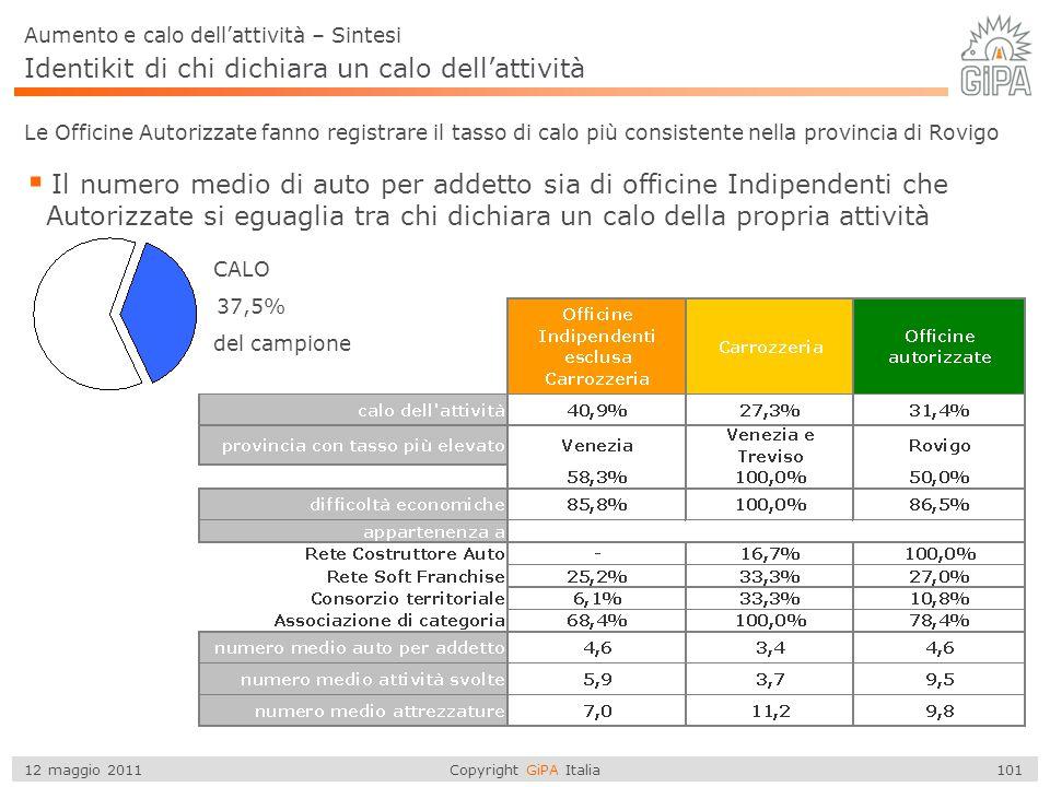 Copyright GiPA Italia 101 12 maggio 2011 37,5% Aumento e calo dell'attività – Sintesi del campione Identikit di chi dichiara un calo dell'attività CAL