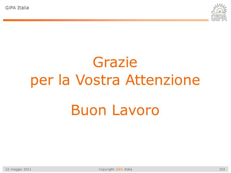 Copyright GiPA Italia 103 12 maggio 2011 Grazie per la Vostra Attenzione Buon Lavoro GiPA Italia