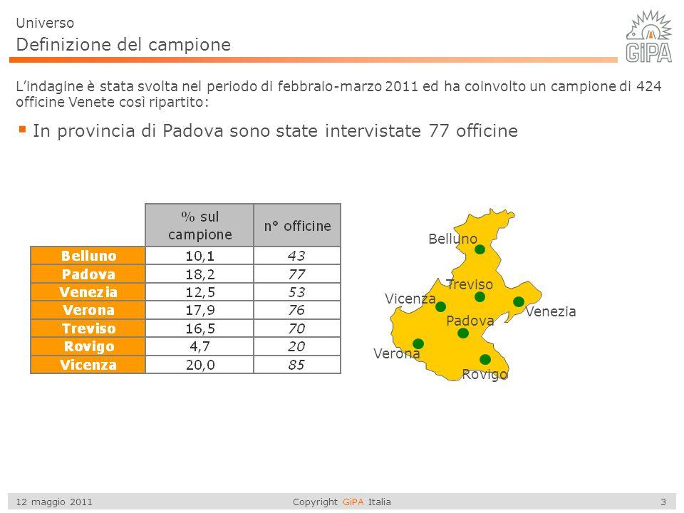 Copyright GiPA Italia 3 12 maggio 2011 Definizione del campione  In provincia di Padova sono state intervistate 77 officine Universo L'indagine è sta