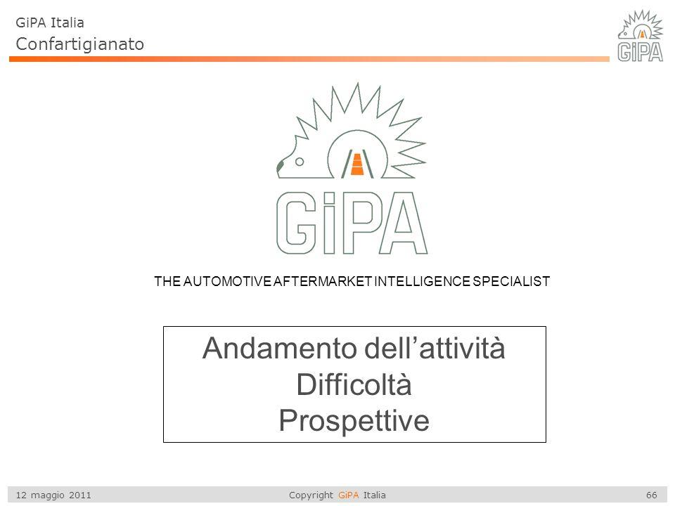 Copyright GiPA Italia 66 12 maggio 2011 THE AUTOMOTIVE AFTERMARKET INTELLIGENCE SPECIALIST Andamento dell'attività Difficoltà Prospettive GiPA Italia