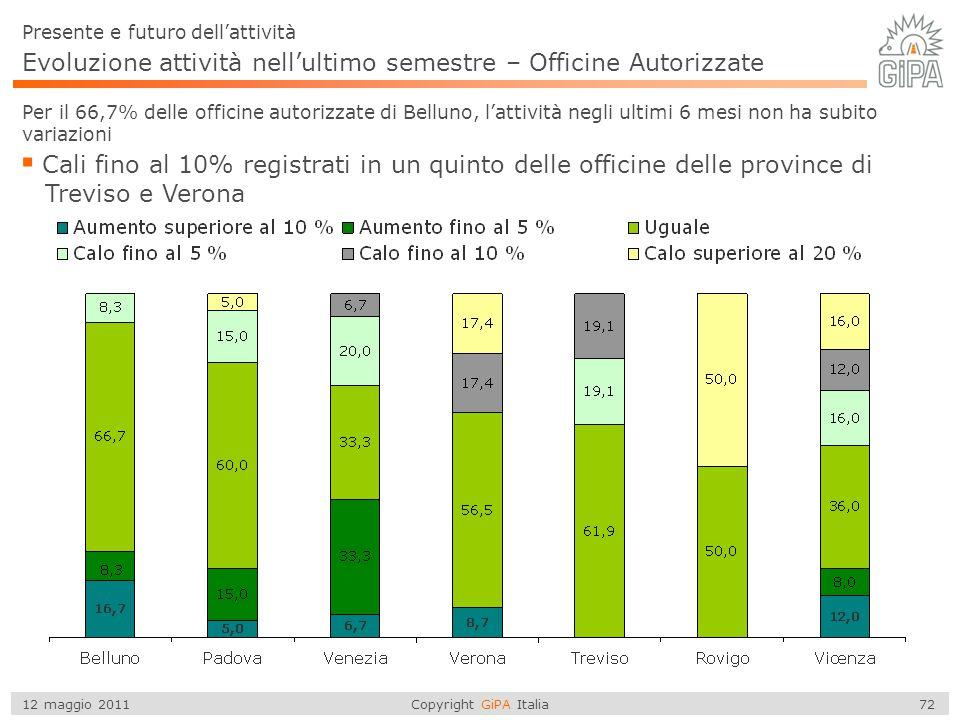 Copyright GiPA Italia 72 12 maggio 2011 Evoluzione attività nell'ultimo semestre – Officine Autorizzate Per il 66,7% delle officine autorizzate di Bel