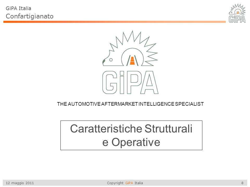 Copyright GiPA Italia 8 12 maggio 2011 THE AUTOMOTIVE AFTERMARKET INTELLIGENCE SPECIALIST Caratteristiche Strutturali e Operative GiPA Italia Confarti