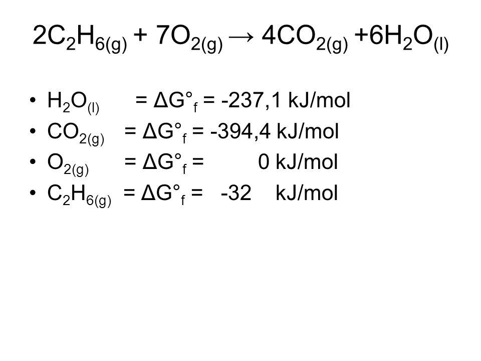 2C 2 H 6(g) + 7O 2(g) → 4CO 2(g) +6H 2 O (l) H 2 O (l) = ΔG° f = -237,1 kJ/mol CO 2(g) = ΔG° f = -394,4 kJ/mol O 2(g) = ΔG° f = 0 kJ/mol C 2 H 6(g) = ΔG° f = -32 kJ/mol