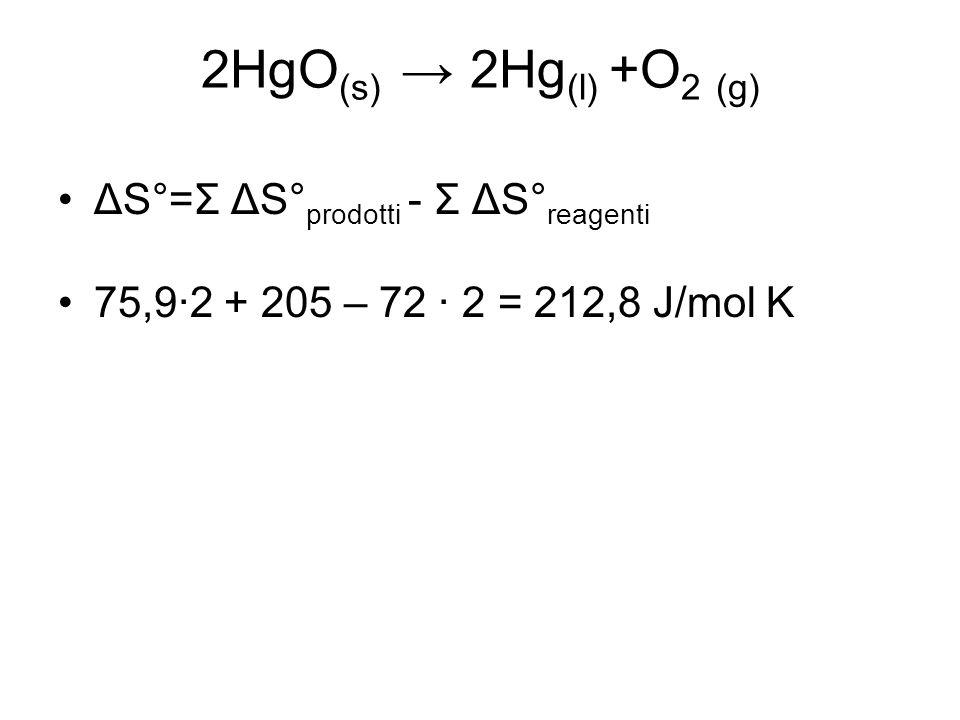 2HgO (s) → 2Hg (l) +O 2 (g) ΔS°=Σ ΔS° prodotti - Σ ΔS° reagenti 75,9·2 + 205 – 72 · 2 = 212,8 J/mol K