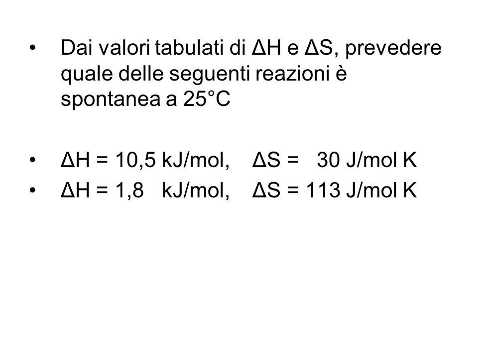Dai valori tabulati di ΔH e ΔS, prevedere quale delle seguenti reazioni è spontanea a 25°C ΔH = 10,5 kJ/mol, ΔS = 30 J/mol K ΔH = 1,8 kJ/mol, ΔS = 113 J/mol K