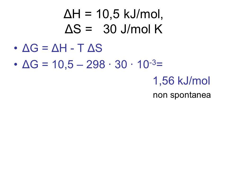 ΔH = 10,5 kJ/mol, ΔS = 30 J/mol K ΔG = ΔH - T ΔS ΔG = 10,5 – 298 · 30 · 10 -3 = 1,56 kJ/mol non spontanea