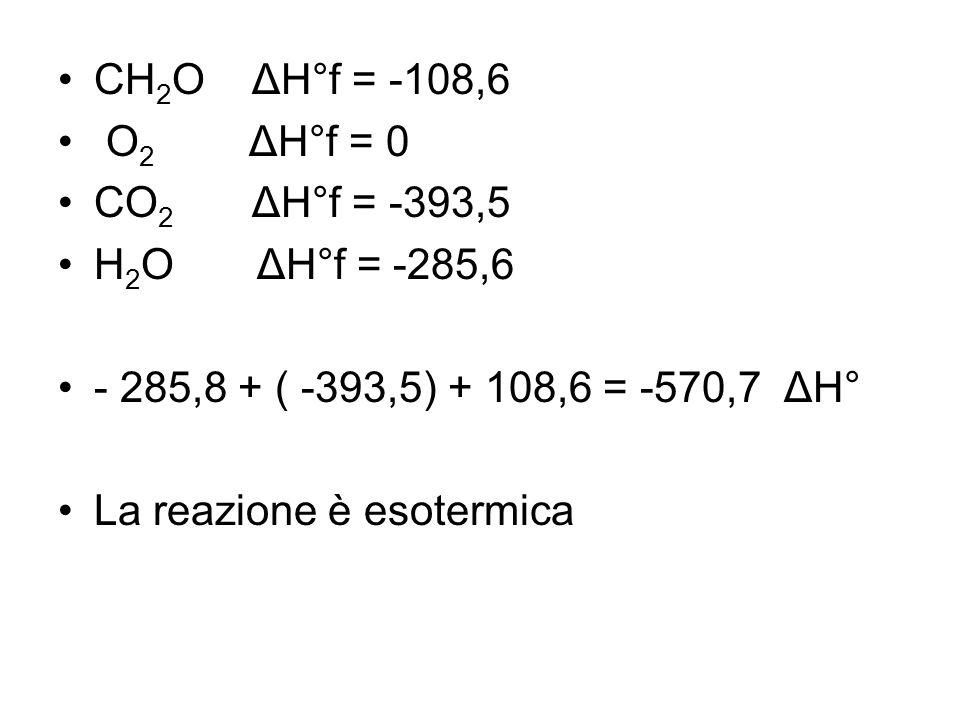 CH 2 O ΔH°f = -108,6 O 2 ΔH°f = 0 CO 2 ΔH°f = -393,5 H 2 O ΔH°f = -285,6 - 285,8 + ( -393,5) + 108,6 = -570,7 ΔH° La reazione è esotermica