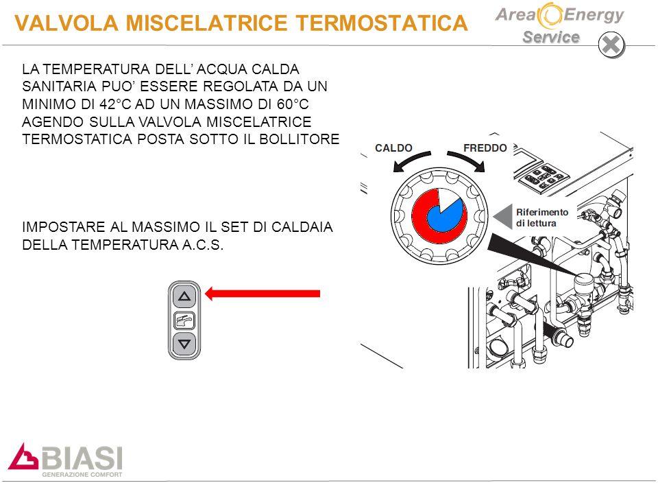 Service VALVOLA MISCELATRICE TERMOSTATICA LA TEMPERATURA DELL' ACQUA CALDA SANITARIA PUO' ESSERE REGOLATA DA UN MINIMO DI 42°C AD UN MASSIMO DI 60°C AGENDO SULLA VALVOLA MISCELATRICE TERMOSTATICA POSTA SOTTO IL BOLLITORE IMPOSTARE AL MASSIMO IL SET DI CALDAIA DELLA TEMPERATURA A.C.S.