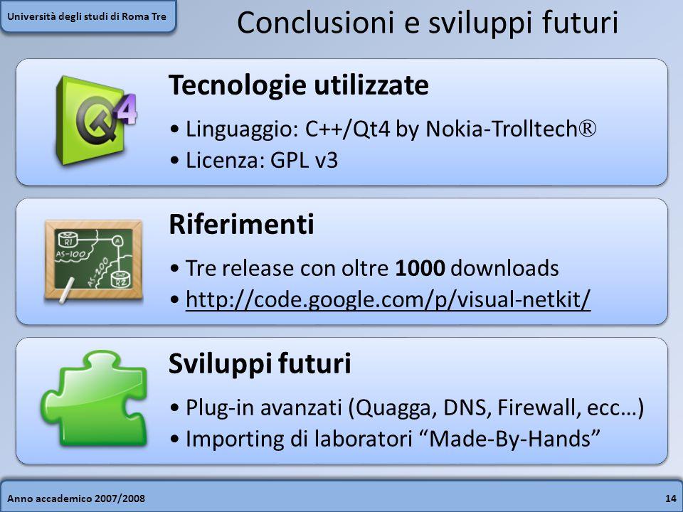 Anno accademico 2007/200814 Università degli studi di Roma Tre Conclusioni e sviluppi futuri Tecnologie utilizzate Linguaggio: C++/Qt4 by Nokia-Trollt