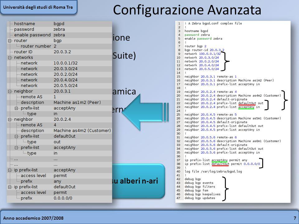 Anno accademico 2007/20087 Università degli studi di Roma Tre Configurazione Avanzata Un esempio di configurazione avanzata in BGP (Quagga Suite)  St