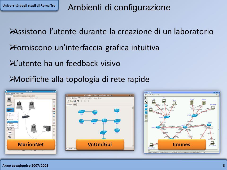 Anno accademico 2007/20088 Università degli studi di Roma Tre Ambienti di configurazione  Assistono l'utente durante la creazione di un laboratorio 