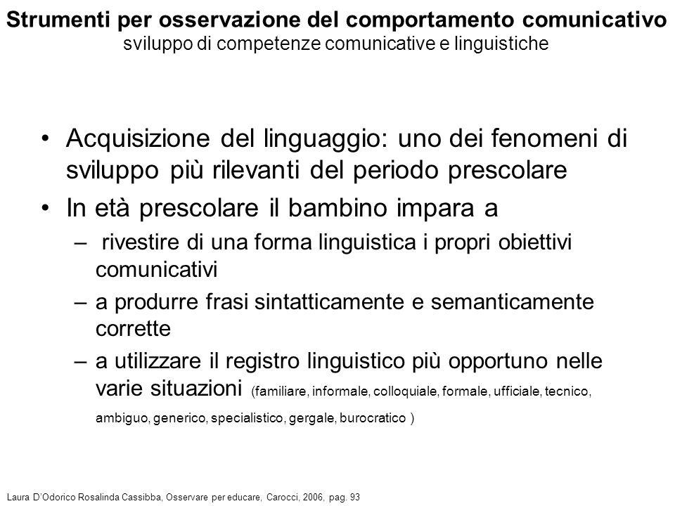 Acquisizione del linguaggio: uno dei fenomeni di sviluppo più rilevanti del periodo prescolare In età prescolare il bambino impara a – rivestire di un
