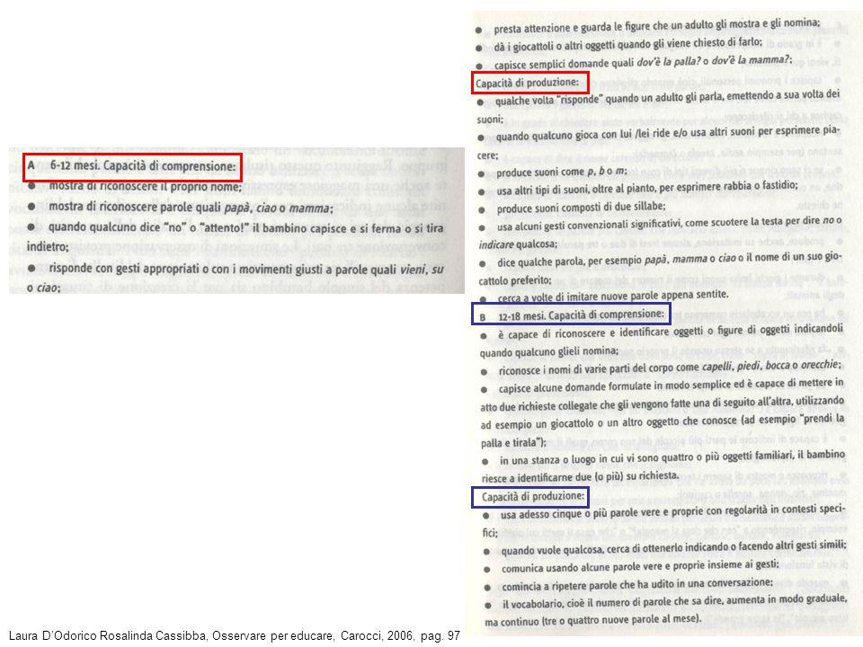Laura D'Odorico Rosalinda Cassibba, Osservare per educare, Carocci, 2006, pag. 97