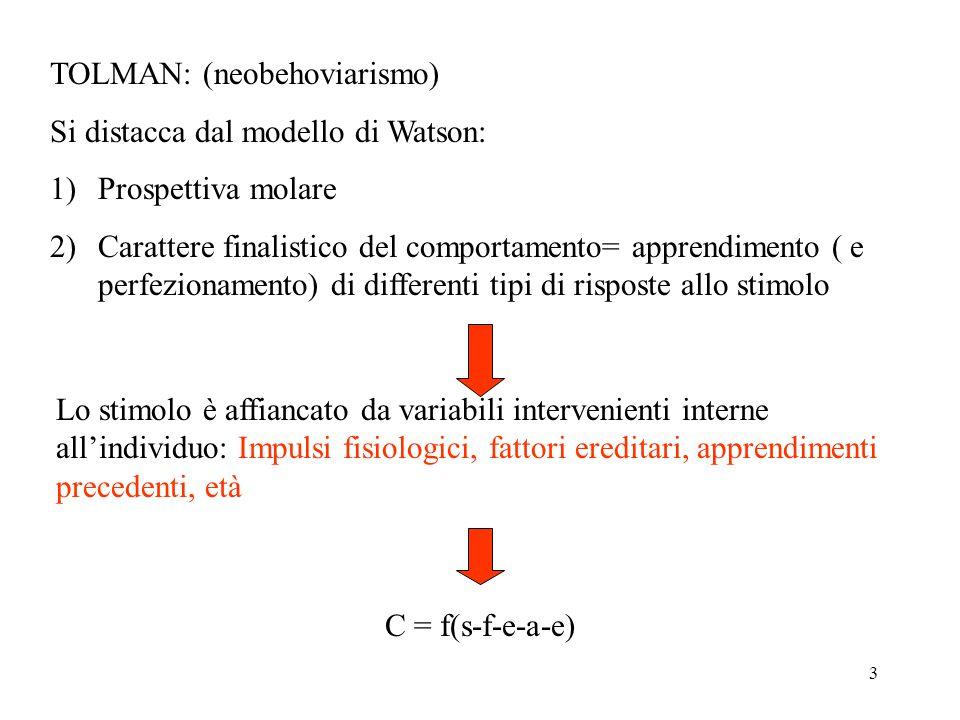 3 TOLMAN: (neobehoviarismo) Si distacca dal modello di Watson: 1)Prospettiva molare 2)Carattere finalistico del comportamento= apprendimento ( e perfezionamento) di differenti tipi di risposte allo stimolo Lo stimolo è affiancato da variabili intervenienti interne all'individuo: Impulsi fisiologici, fattori ereditari, apprendimenti precedenti, età C = f(s-f-e-a-e)